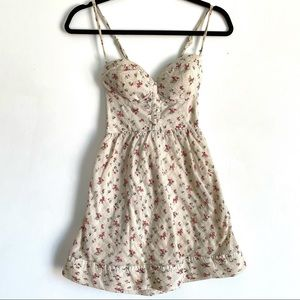 Guess Floral Mini Dress Padded Bustier Vintage